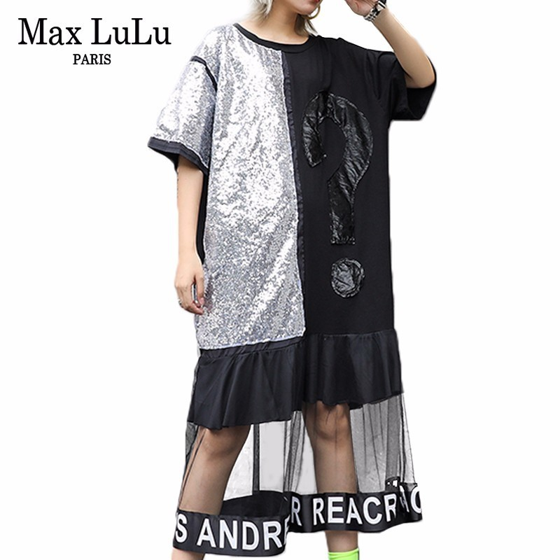 Max LuLu Fashion Luxury Korean Ladies Sequins Clothes Womens Sexy Lace Oversized Dresses Patchwork Mesh Summer