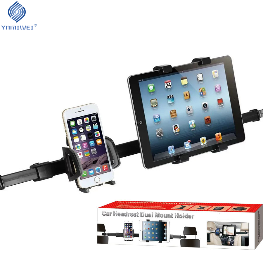 цена на Universal Tablet Car Holder Phone Mount Car Back Seat Headrest Dual Mount Stand Car Accessories For iPad Xiaomi Samsung Lenovo