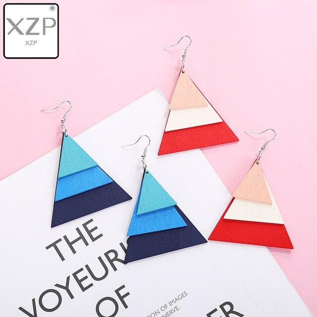 Женские многослойные серьги-подвески XZP, деревянные серьги-подвески в стиле бохо, геометрические украшения, 2019