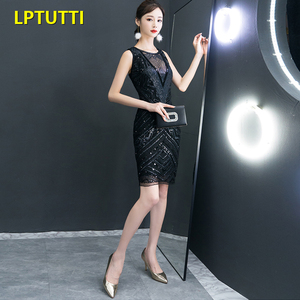 Image 3 - LPTUTTI Sequin New Sexy Woman Plus Size Social Festive Elegant Formal Prom Party Gowns Fancy Short Luxury Cocktail Dresses