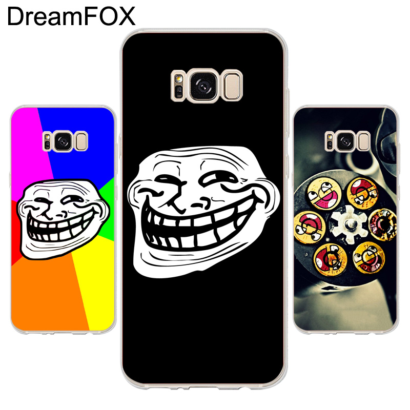 DREAMFOX K244 Troll Face Soft TPU Silicone Case Cover For Samsung Galaxy Note S 3 4 5 6 7 8 9 Edge Plus Grand Prime