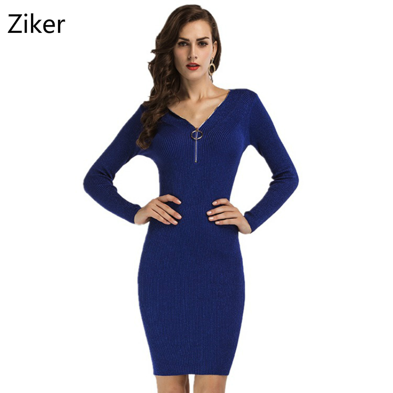 Autumn Winter Women Knitted Dresses New Fashion Sheath Bodycon Pencil Dress Long Sleeve Sexy V-Neck Solid Slim Knee Length Dress long sleeve lace pencil sheath dress