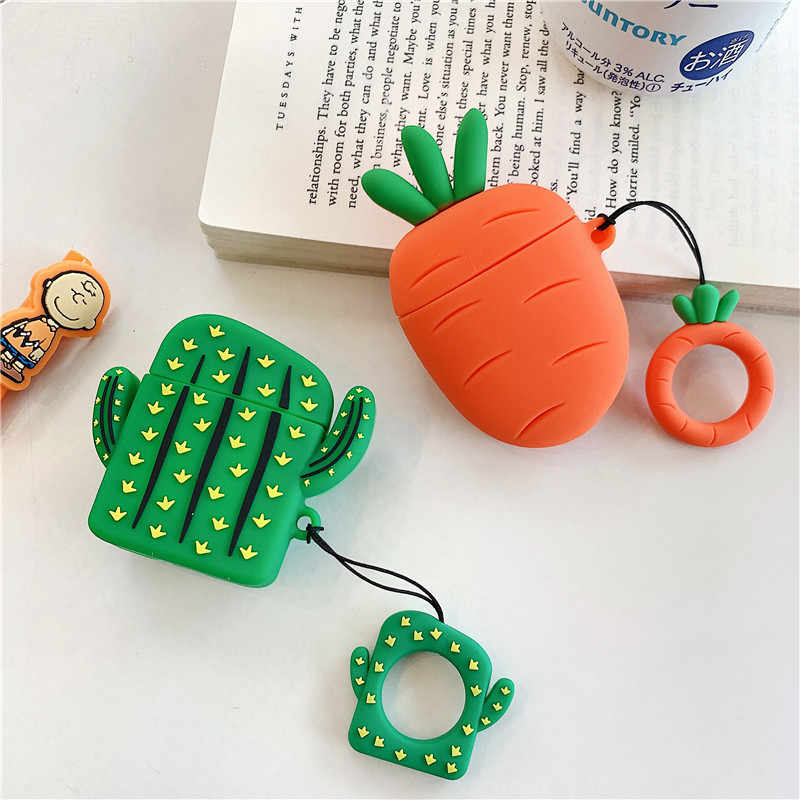 New 3D Cute Cactus Carrot Silicone Case For Apple Airpods Cover Case Bluetooth Earphone Protective Cover For Airpods Finger Ring