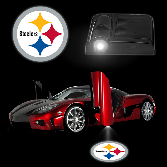 2PCS/Set Car Logo Light Smart Accessories PITTSBURGH STEELERS ...