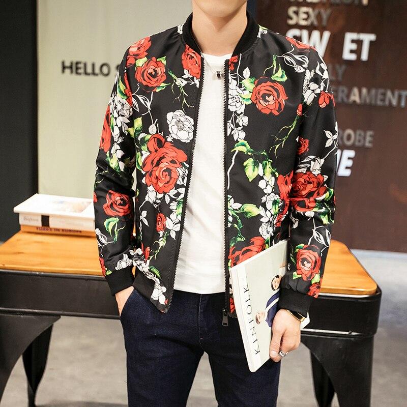 Men Flowers Print Cotton Twill Autumn Casual Bomber Jacket Spring Pockets Slim Fit Jaqueta Masculina Coats