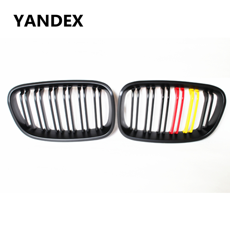 YANDEX German flag type racing grille double slat kidney grill for 2012 2013 2014 BMW 1 series f20 f21 hatchback 116i 118i 120i car front bumper mesh grille around trim racing grills 2013 2016 for ford ecosport quality stainless steel