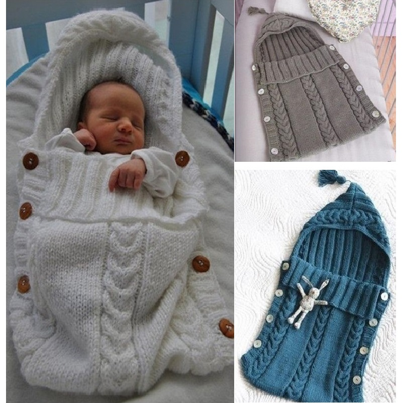 Baby Swaddle Wrap Warm Wool Crochet Knitted Newborn Infant Sleeping Bag Baby Swaddling Blankets Sleeping Bags