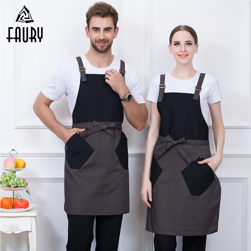 High Quality Wholesale Unisex Halter Neck Adjustable Spliced Color Apron Food Service Kitchen Bakery Chef Waiter Uniform