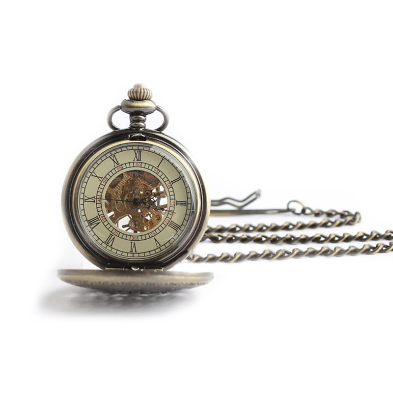 Classic Steampunk Roman Dial Mechanical Skeleton Windup Pocket Watch Full Hunter Totem Design With Chain LXH