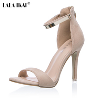 2016 Concise Nude Suede High Heels Sandals Women Sequined Ankle Strap Summer Dress Shoes Woman Open
