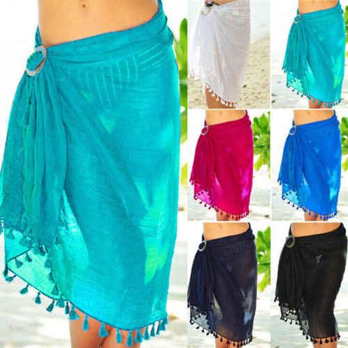 07a30fd523 New Sexy Summer Women's Beach Bikini Cover up Swim Skirt Wrap Sarong  Beachwear Cover Dress