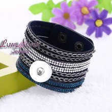 Hot sale Rock style Korean velvet diamond Retro fashion Bracelet Snap Button Jewelry Charm Jewelry For Women(fit 18mm button)