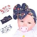 Largura de impressão de algodão big bow estiramento headband com flor para o esporte yoga faixa de cabelo da criança do bebê recém-nascido