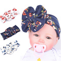 Wide Print Cotton Big Bow Stretch Headband With Flower For Newborn Toddler Baby Sport Yoga Hair Band