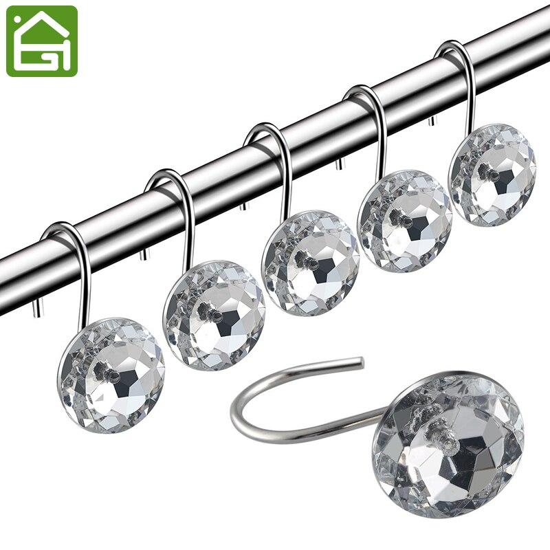 12 PCS Crystal Acrylic Decorative Rolling Shower Curtain Hooks Bathroom  Decoration Rhinestones Shower Rustproof Rings(