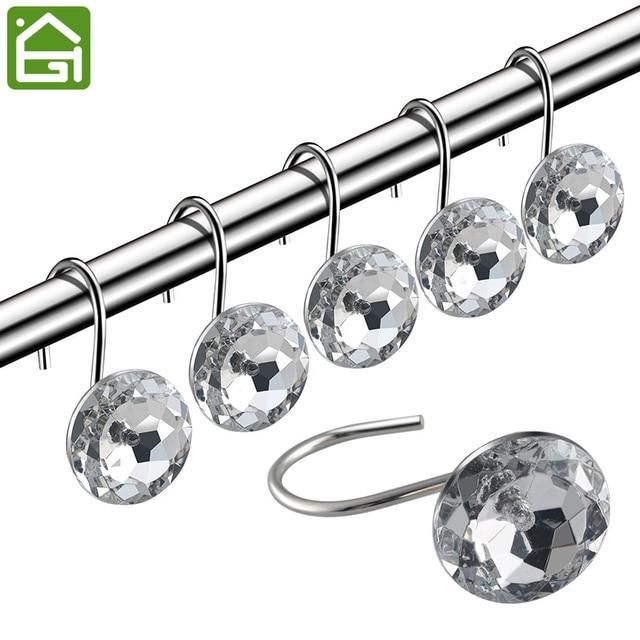 12 STÜCKE Kristall Acryl Dekorative Roll Duschvorhang Haken Badezimmer  Dekoration Strass Dusche Rostfrei Ringe