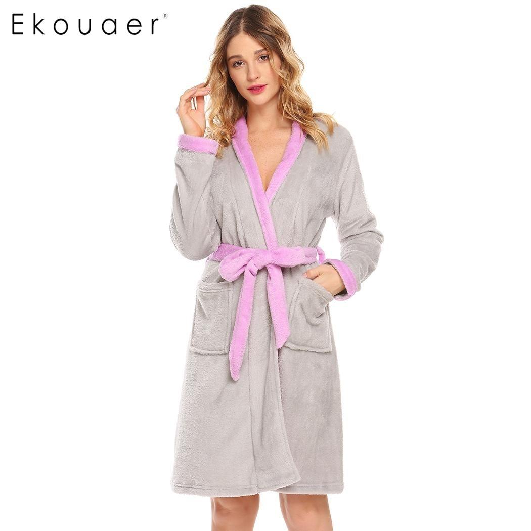 08afae9e4e Detail Feedback Questions about Ekouaer Women Sleepwear Robe Long Sleeve  Hooded Patchwork Belted Plush Fleece Bathrobe Kimono Winter Robe Female  Dressing ...