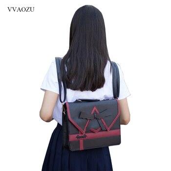 Japanese Women Ladies Girls Preppy Style Handbag Lolita Bowknot Shoulder Bag JK Uniform Messenger Bag 3 Way Daypack School Bag shoulder bag