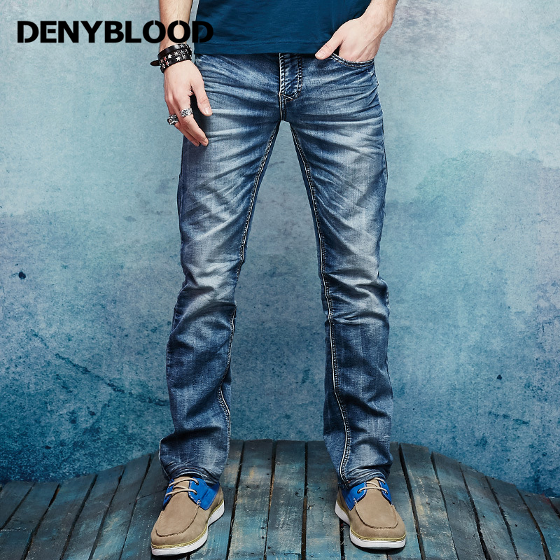 Denyblood Jeans Fashion Mens Stretch Knitted Denim Distressed Jeans Ripped Slim Straight Vintage Washed Casual Pants 158035 fashion men s ripped jeans acid washed vintage teared torn straight fit distressed denim pants with holes