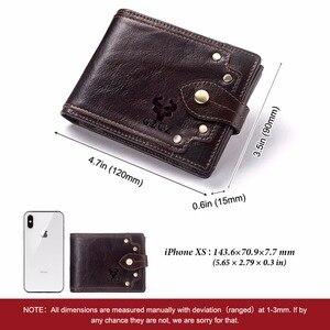 Image 3 - GZCZ nowy 100% prawdziwej skóry portfel mężczyźni męska portmonetka Portomonee zacisk na pieniądze na kieszeń na suwak posiadacz karty Hasp portfel