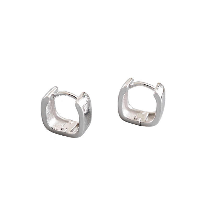 SHANICE 925 เงินสเตอร์ลิง Hip Hop สแควร์กว้างหน้าหูแหวนต่างหูและแหวนต่างหูหญิง Hip Hop hoop ต่างหู