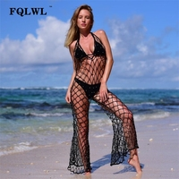 FQLWL Crochet Beads Sexy Jumpsuit Summer Romper Women Hollow Out Backless Wide Leg Black Jumpsuit Casual Beach Playsuit Overalls
