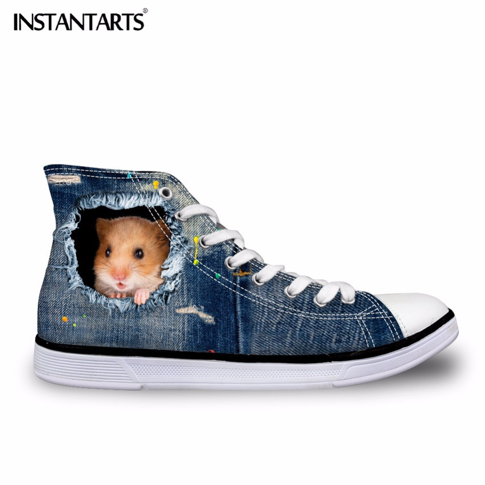 INSTANTARTS Men Vulcanize Canvas Shoes Denim Animal Cat Dog Pattern Male Boy Breathable High Top Canvas Shoes With Spring Autumn