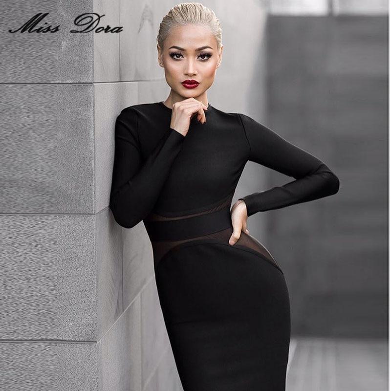 2016 Winter Black O-neck Mesh Long Sleeve Mid-calf Sexy Women Evening Party Dress Celebrity Runway Bandage Dresses Wholesale