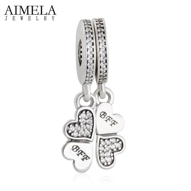 AIMELA 925 Sterling Silver Lucky Clover BFF Best Friends Forever Pendant Charm Beads For Jewelry Making Fit Pandora Bracelet DIY