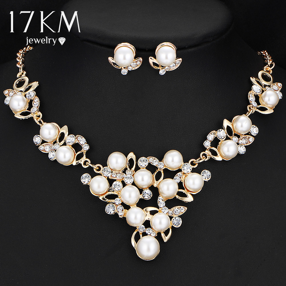 flower necklace and earring set gold simulated