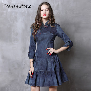 Cheongsam Dress Women 2019 Vintage Spring New Denim Dresses Chinoiserie Ruffles Mandarin Collar 3/4 Sleeve China Style Dress