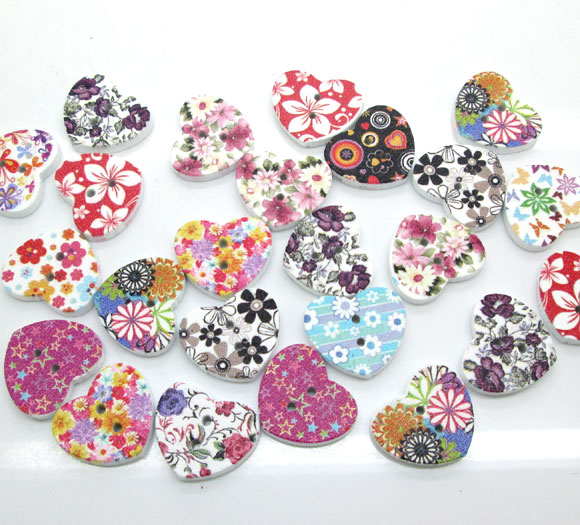 50Pcs Mixed Flower Wood Shape Apparel Sewing Buttons For Kids Clothes Scrapbooking Decorative Handicraft DIY Accessories button