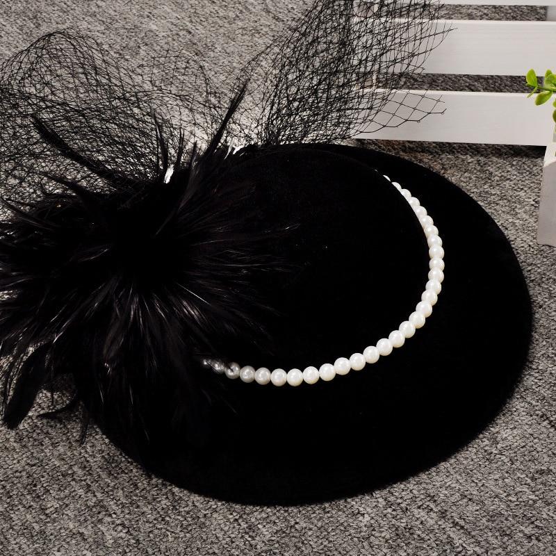 British Ladies Wedding Fascinators And Veils Elegant Black/Green Bridal Hats Women Party Headdress Chapeau Mariage Noir