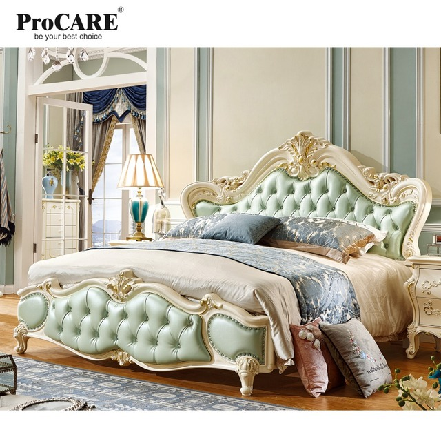 US $2184.0 |Luxus Europäischen und Amerikanischen stil schlafzimmer  kingsize bett solide carving bett romantische prinzessin bett in Luxus ...