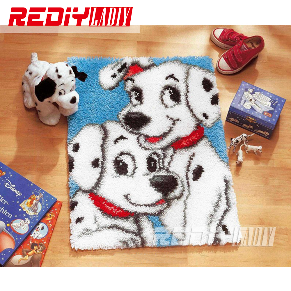 Rug Dogs Embroidery Designs: Latch Hook Rug Kits Smile White Dogs DIY Needlework