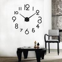 שעון קיר גדול DIY אקריליק מודרני מירור שעוני קיר קוורץ שעון שקט Creative 3D וול אבזר עיצוב הבית