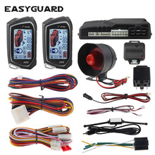 EASYGUARD 2 Way Car Alarm System big LCD Pager Display auto Start stop Turbo Timer Mode shock/vibration alarm universal DC12V