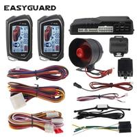 EASYGUARD universal 2 Way Car Alarm System big LCD Pager Display auto Start Turbo Timer Mode vibration alarm DC12V