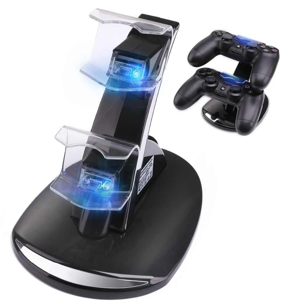 Controller Charger Dock LED Dual USB PS4 Pengisian Stasiun Dudukan Cradle untuk Sony PlayStation 4 PS4/PS4 Pro/ PS4 Slim Controller