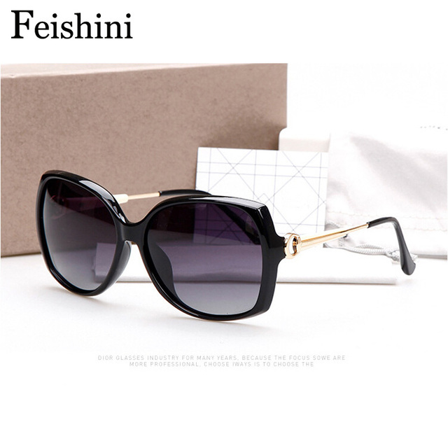 FEISHINI Brand Designer 2114 HD Anti fatigue UV400 Safe Glasses 2017 Sexy Butterfly Sunglasses Women Polarized Vintage Luxury