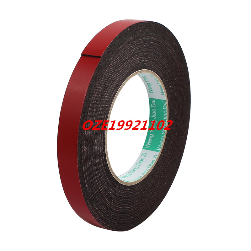 10M 15mm x 1mm Dual-side Adhesive Shockproof Sponge Foam Tape Red Black 1pcs single sided self adhesive shockproof sponge foam tape 2m length 6mm x 80mm