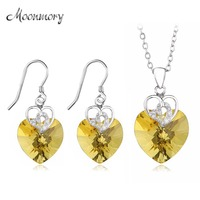 Moonmory 925 Sterling Silver Bijoux Mariage Earrings And Necklace African Nigeria Dubai Jewelry Sets For Women Wedding Jewelry