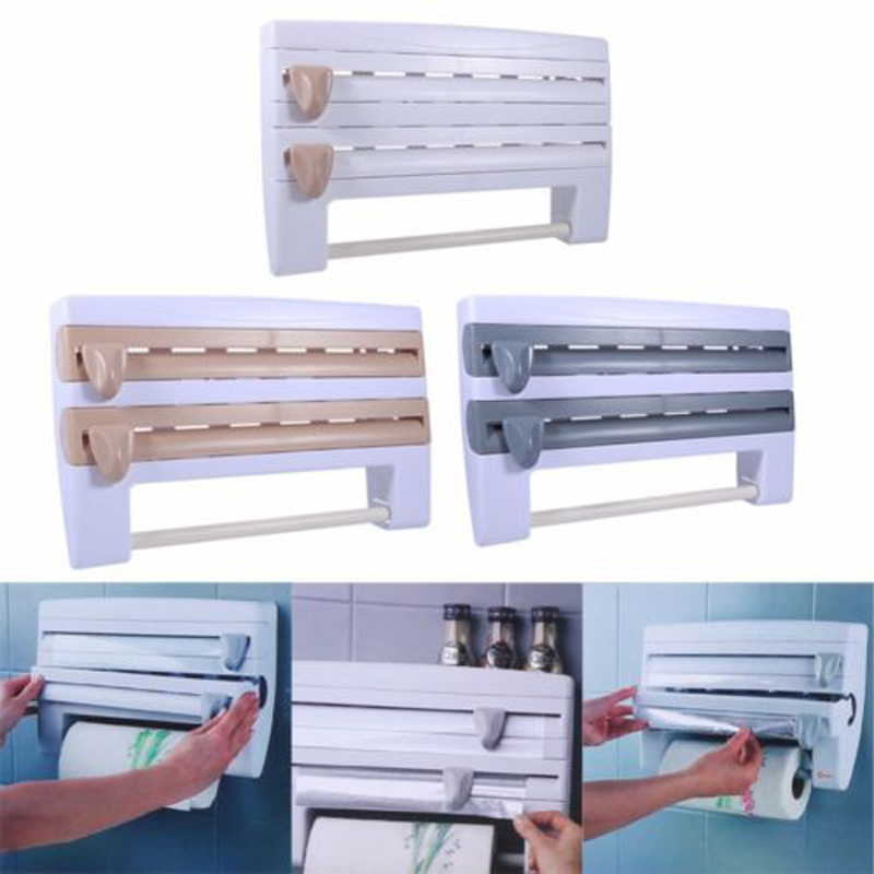 4 In 1 Home Kitchen Tissue Roll Paper Towel Foil Film Wrap Wall Holder Dispenser