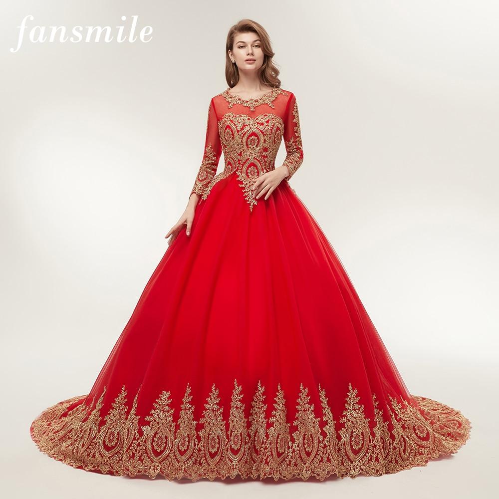 Fansmile Vestido De Novia Vintage Lace Red Train Ball Wedding Dresses 2019 Customized Plus Size Bridal Wedding Gown FSM-362F/T