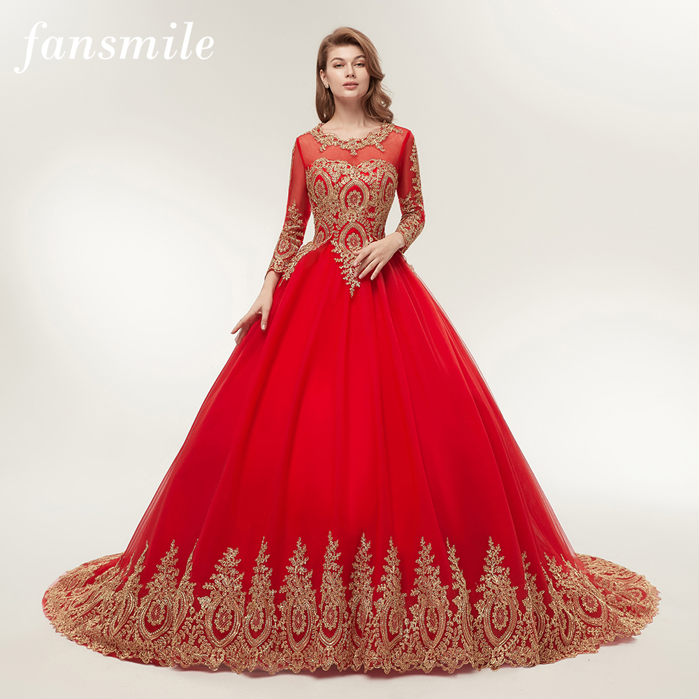 Fansmile Vestido De Novia Vintage Lace Red Train Ball Wedding Dresses 2020 Customized Plus Size Bridal Wedding Gown FSM-362F/T