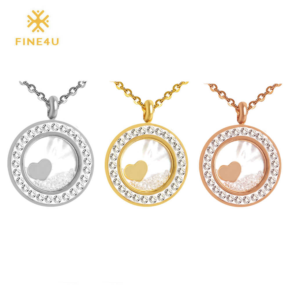 2018 New FINE4U N054 316L Stainless Steel Pendant Necklace Cubic Zirconia Shell Necklace Pendants For Wedding Christmas Gift