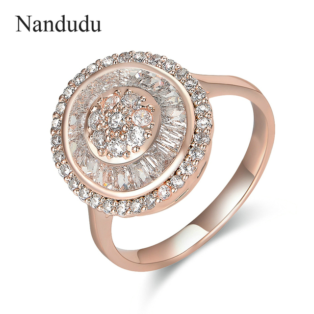 Nandudu AAA Zircon Engagement Rings with Austrian Crystals for Women Rose Gold C