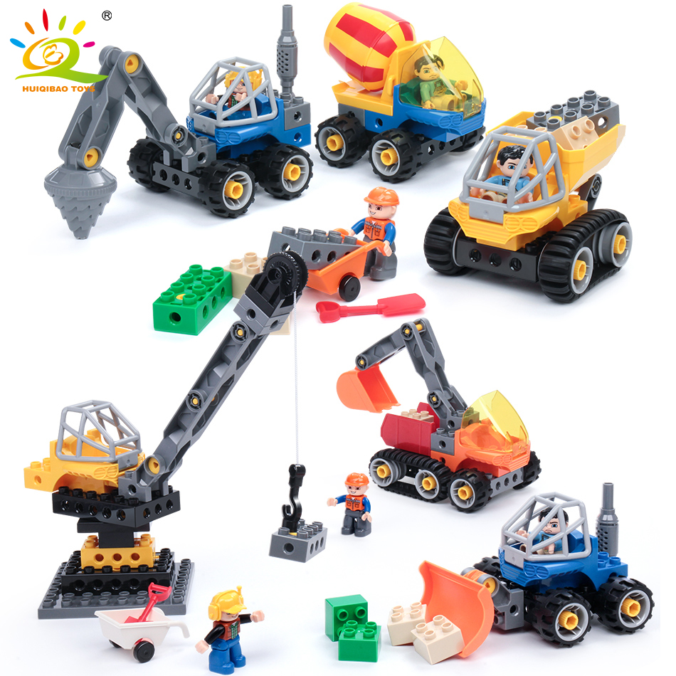 все цены на City Engineering Cranes Excavator Vehicle Big Size Brick Compatible Legoed Duploe City Construction Building Blocks Toys For Kid онлайн