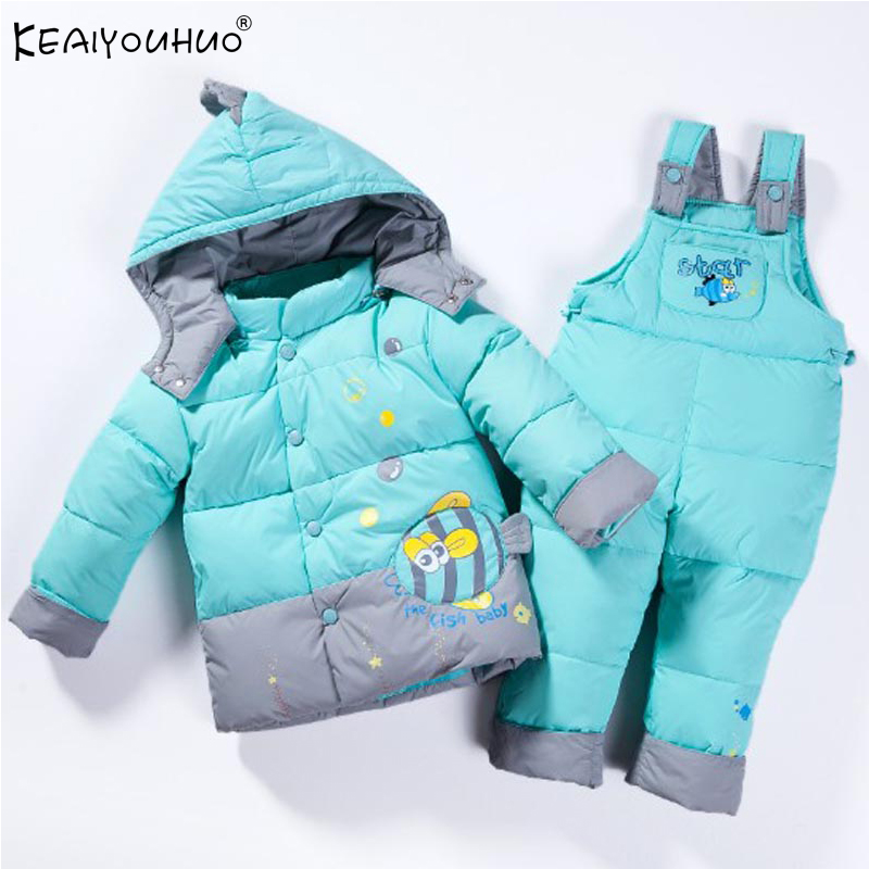 KEAIYOUHUO Girls Clothes Sets Winter Thick Hooded Coats Sport Suits Children Clothing Boys Warm Jackets+Pants 2Pcs Kids Clothes toddler girls hello kitty clothes set winter thick warm clothes plus velvet coat pants rabbi kids infant sport suits w133