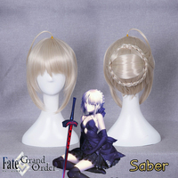 Fate/stay Night Saber Alter Wig 30 Cm Short Straight Heat Resistant Synthetic Hair Wig for Halloween Party Clip In Hair Bun
